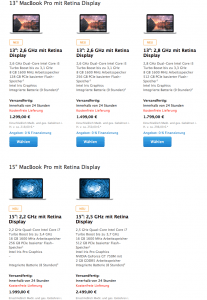 Macbook Pro Retina 2014 im Applestore. Quelle: Apple.