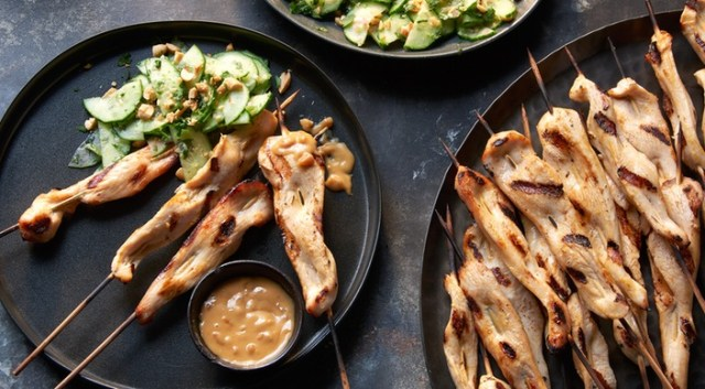 Chicken Satay with Spicy Peanut Sauce and Cucumber Jalapeño Salad