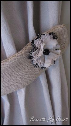 pretty fabric flowers on burlap tie backs