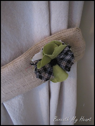 plaid and green fabric flower on curtain tieback