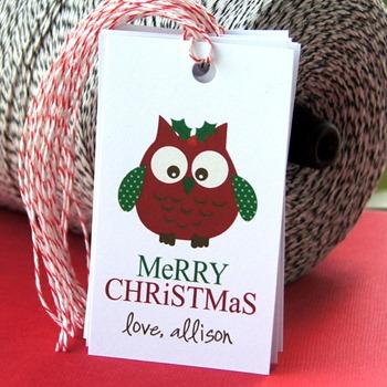 owl Christmas gift tags