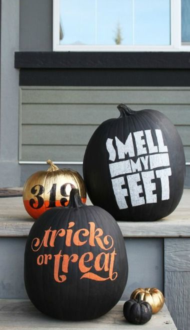 Pumpkin Typography Trick or Treat Smell My Feet Halloween Fall Autumn Home Decor Doorway Design Pumpkins Fun DIY