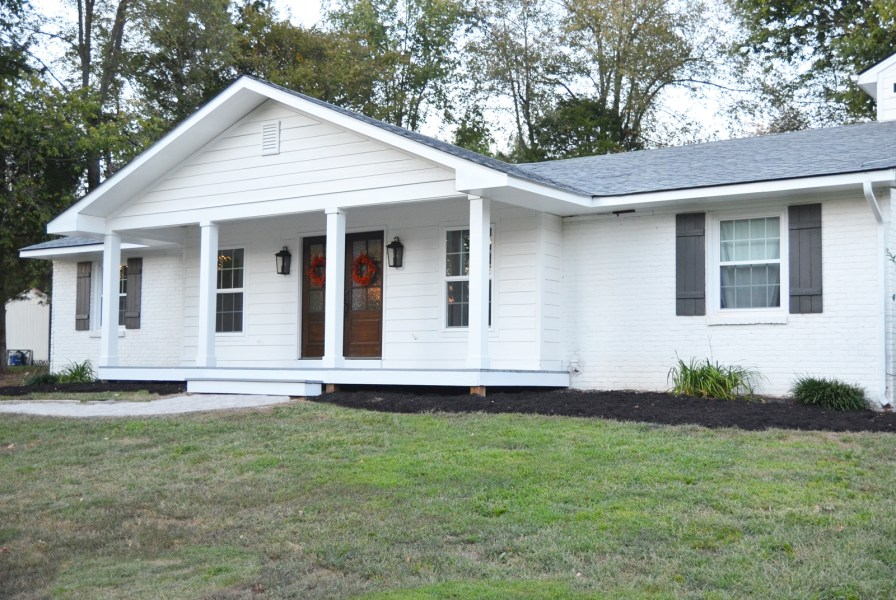 Adding a Front Porch to a Brick Ranch   Beneath My Heart front porch makeover
