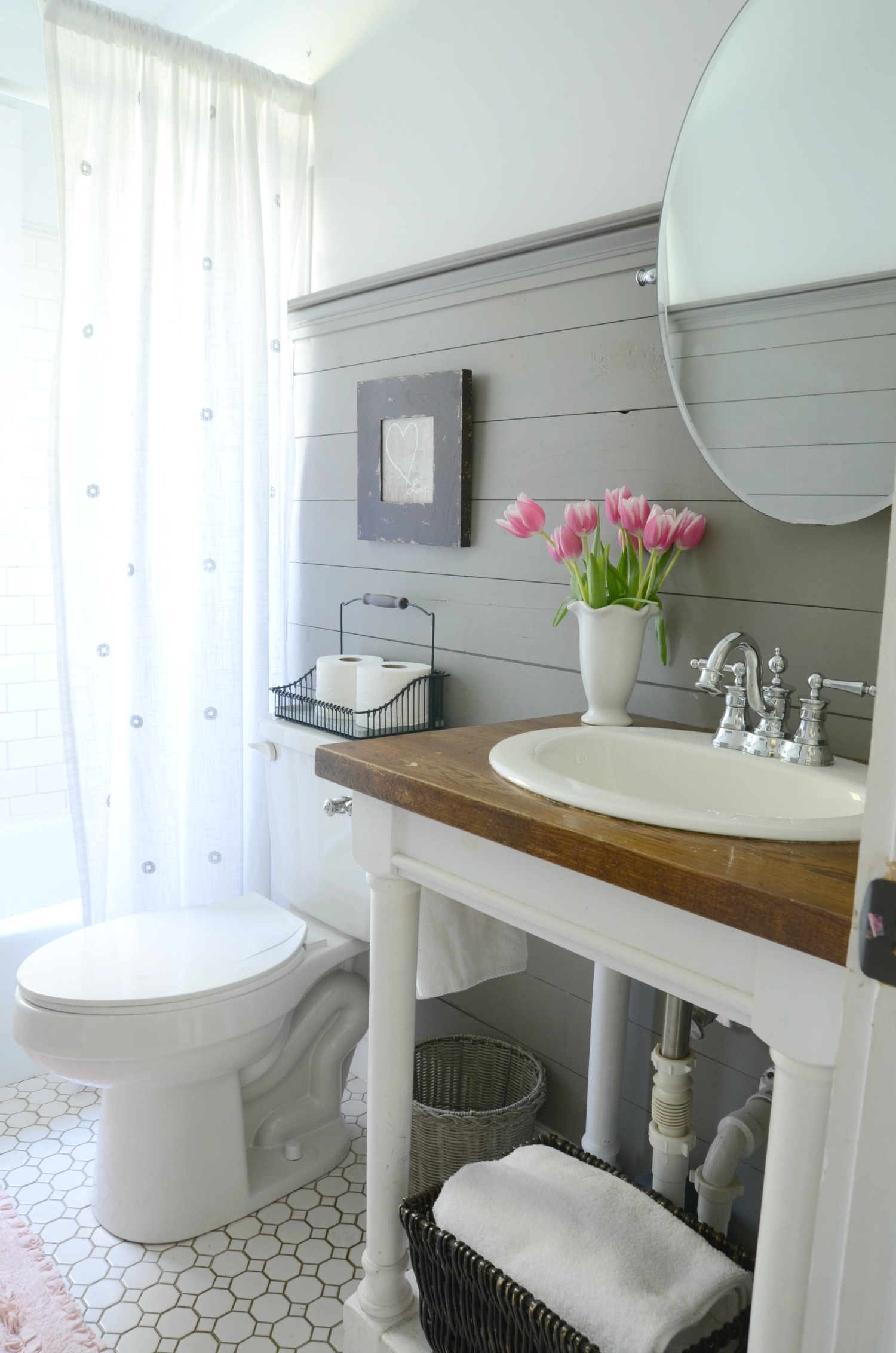 Farmhouse Bathroom Refresh {Adoption Update} - Beneath My ... on Farmhouse Bathroom Ideas  id=55988