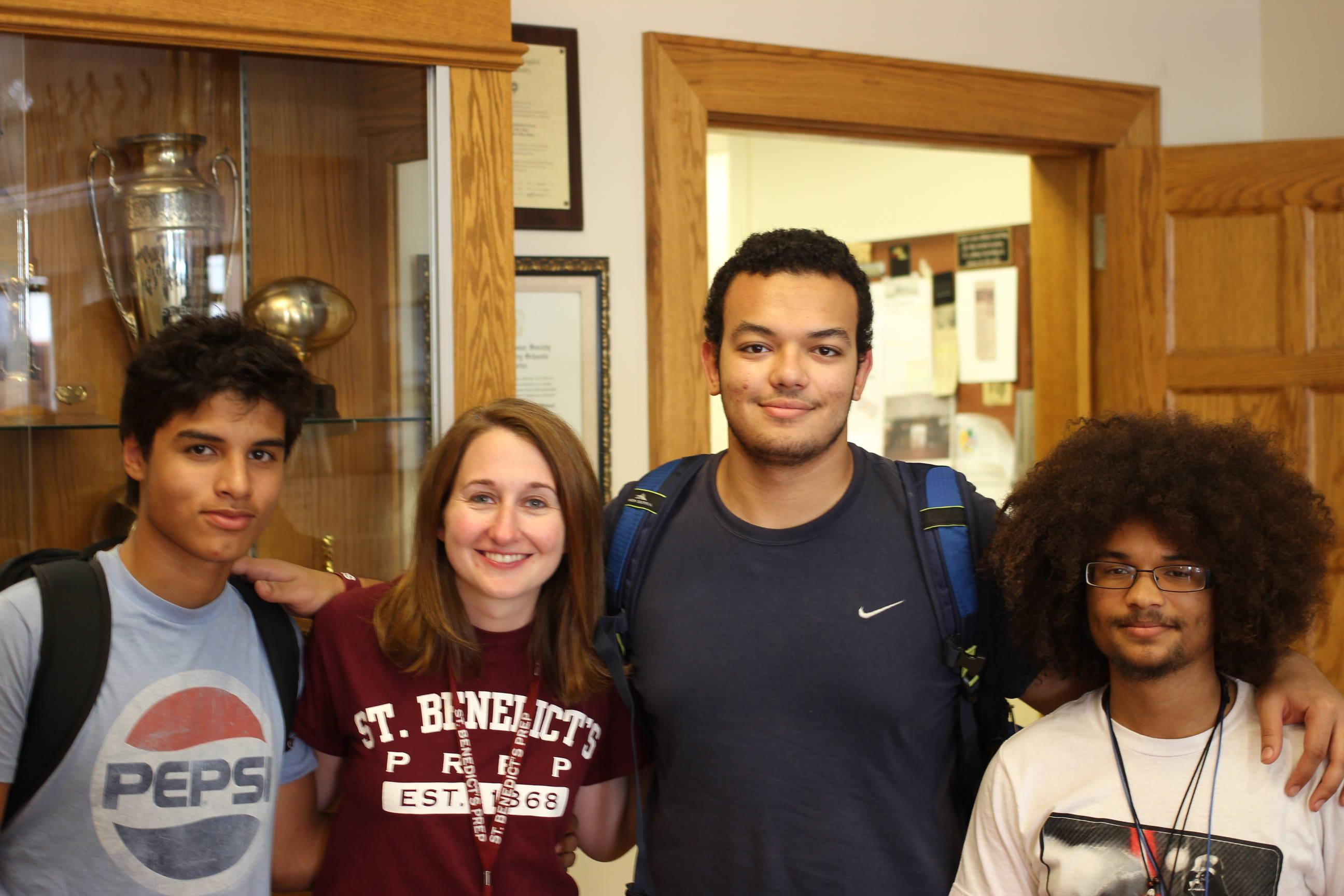From left to right, Nomar Rodriguez, Erin Sweeney, Ahmed Hammad, and Dakota Gibbs say farewell in the Trophy Room.