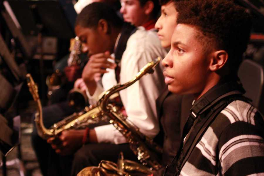 Senior Marcellus Blount started playing in the jazz band freshman year and has played in every jazz band concert since then.