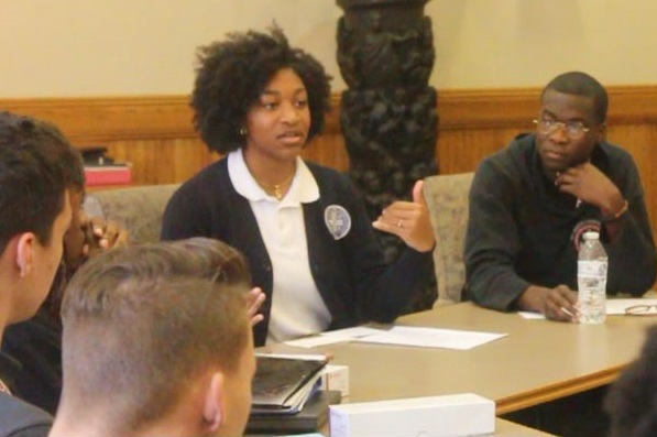 Seniors Jamal Kareem and Simone Richardson of Benedictine Academy leading a discussion about respect.