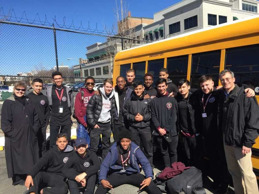 Senior Joe Carmona and UDII's Carlos Acosta,  Sebastian Granizo, Kobe Hurtado, Ivan Jordan, Mario King, Jerry Miraval, Liam Murphy-Torres, Liam Reilly, Luciano Tapia, Devon Grant, and Christopher Viscel depart from the Hive for their Holland Trip.