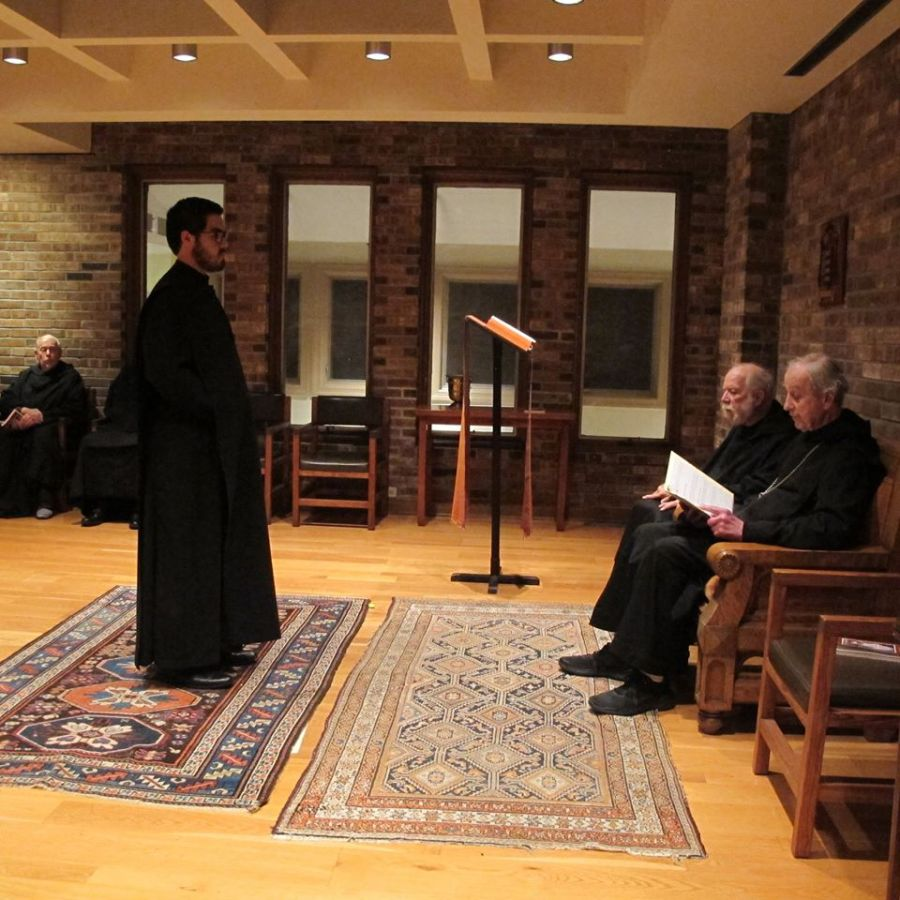 Br. Robert Islas is received into the novitiate during a Rite of Reception into Novitiate on Wed., Oct. 16 at Newark Abbey.