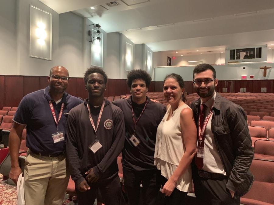 Dr. Maragarita Mooney (second from right) joins SBP faculty and students after her talk. From left, Admissions Director Didier Jean-Baptiste, Ibrahim Mendheim SY, Felix Clayton SY, and Religion Teacher Mr. Stephen Adubato.