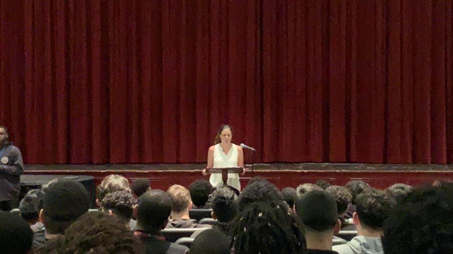 Dr. Margarita Mooney addresses SBP Seniors, challenging them to think more of themselves than what they achieve.