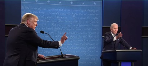 Republican President Donald Trump and Democratic candidate Joe Biden clash in their first debate leading to the Presidential election.