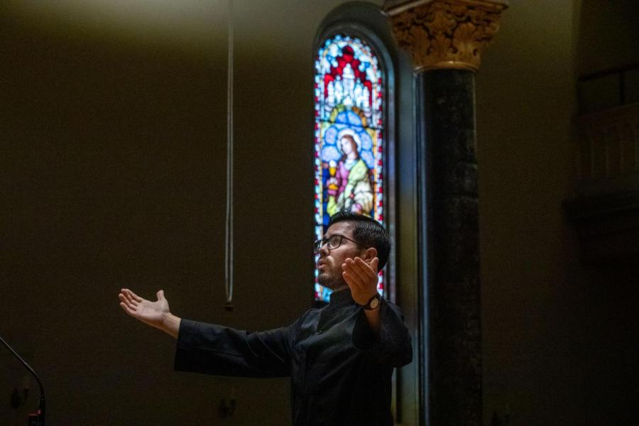 Br. Robert of Molesme Islas, O.S.B., professes his simple vows in St. Mary's Church at the Benedictine Abbey of Newark.