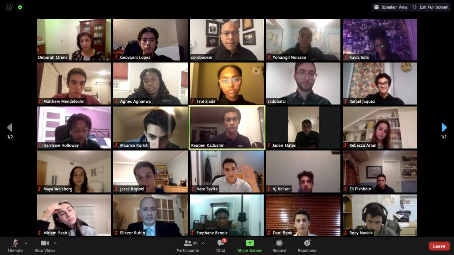 Screen Shot of Virtual Seminar with Sen. Cory Booker