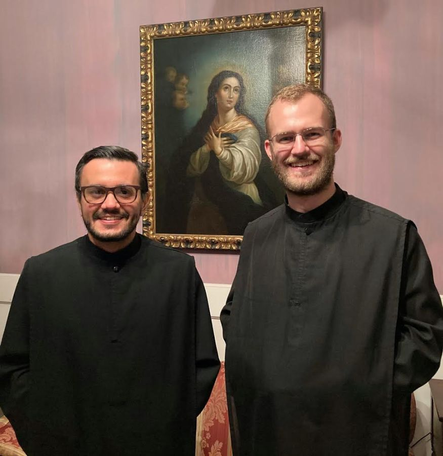 Br. Rafael González, nO.S.B., (at left) and Br. Bruno Mello, nO.S.B., will be leading Newark Abbeys publicity efforts.