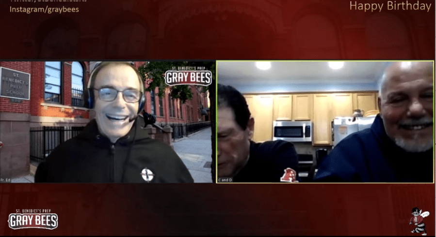 Fr. Ed was joined on a special birthday Zoom call broadcast on YouTube with SBP Community members including  Mr. Mike DiPiano H'82 and Mr. Hank Cordeiro '72.