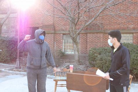 UD2s Israel Small (left) and Guitze Rodriguez rehearse their lead roles in the Drama Guilds upcoming production.