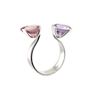 Bague Swan Spinelle Violet Pastel et Grenat Rose Or Gris