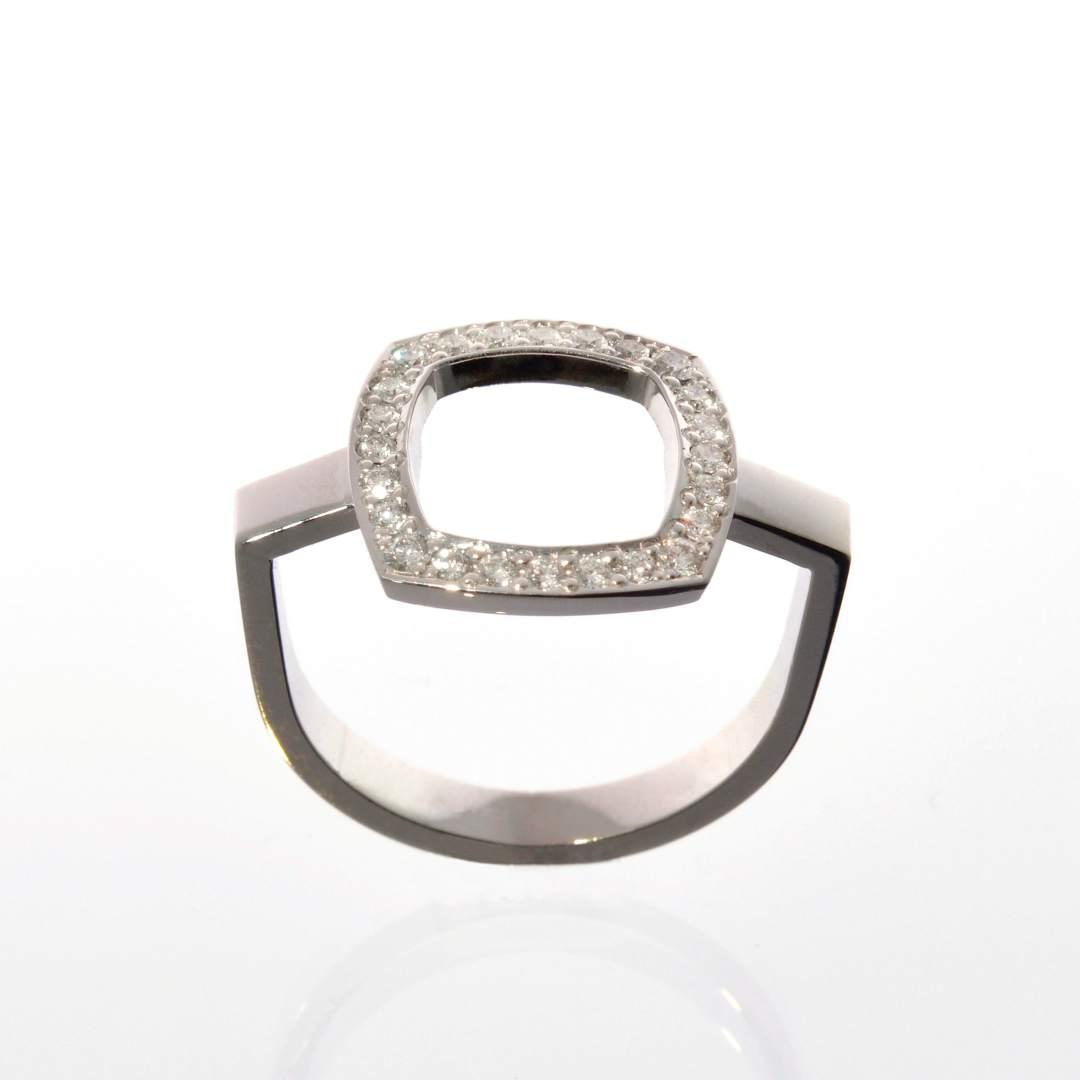 Bague Square Or Gris et Diamants