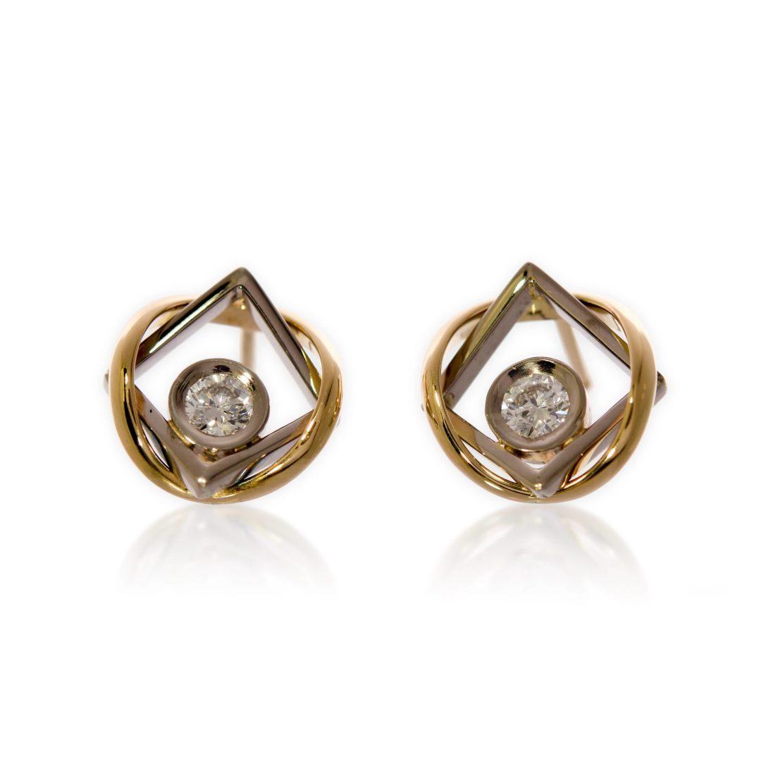 Boucles d'Oreilles d'Union Or Jaune Or Gris Diamants