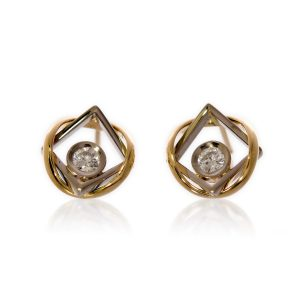 Boucles d'Oreilles d'Union Or Jaune Or Gris Diamants