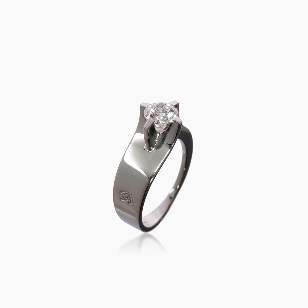 Bague Croisée Solitaire Diamant et Or Gris
