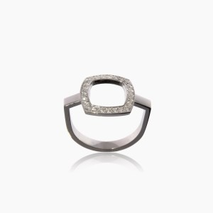 Bague Square Or Gris et Diamants