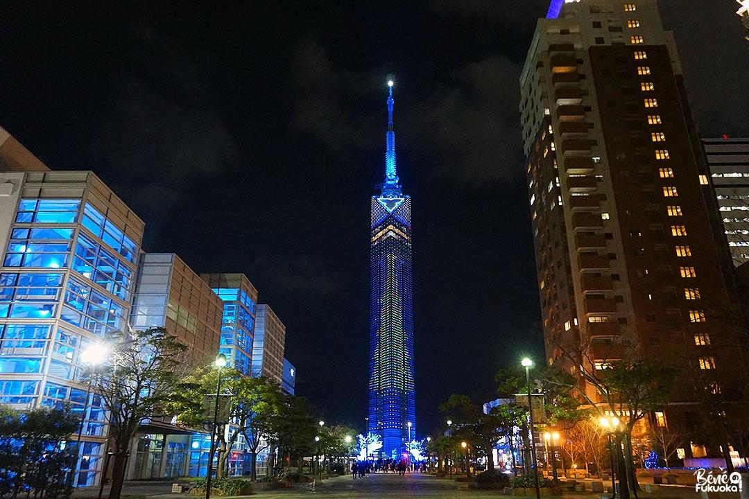 La tour de Fukuoka illuminée pour Noël, Fukuoka