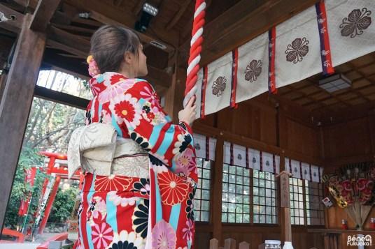 Prière au sanctuaire Sumiyoshi, Fukuoka