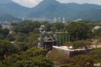 Tourelle Gokai Yagura depuis la mairie de Kumamoto