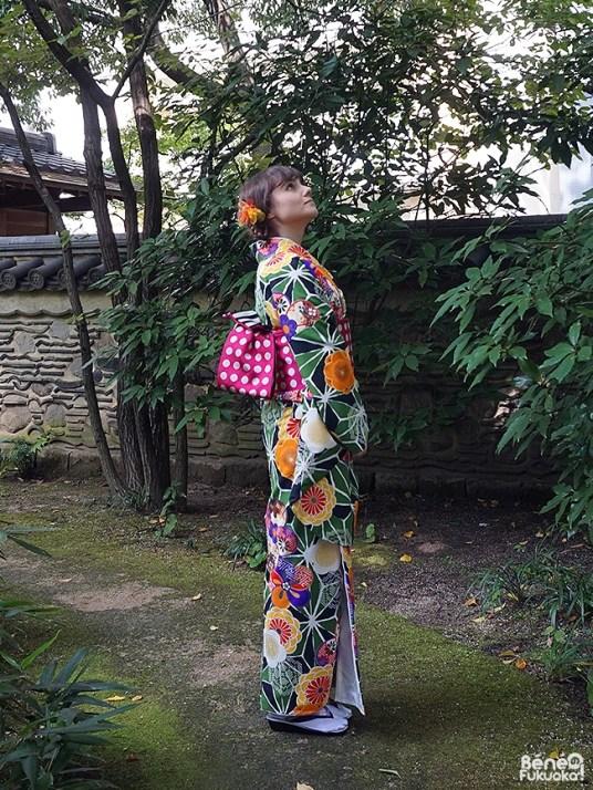 Kimono au jardin Rakusuien, Fukuoka