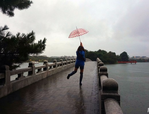 Sous la pluie au parc Ôhori, Fukuoka