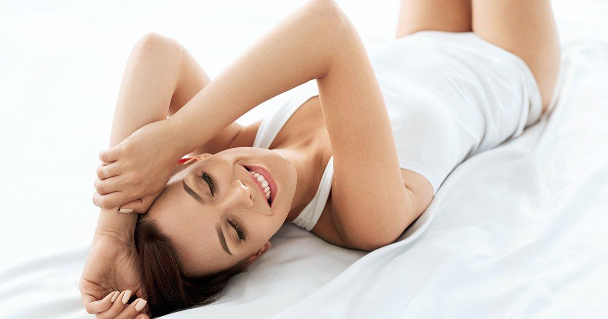 Beauty And Health. Beautiful Woman Having Fun, Relaxing Indoors