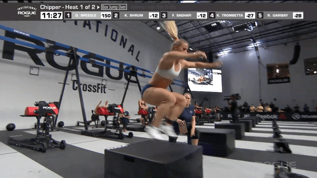 Dani Speegle on the first rep of chipper box jump-over movement.