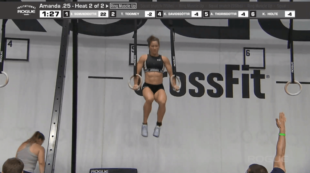 Tia-Clair Toomey has immaculate form in her unbroken ring muscle-ups.