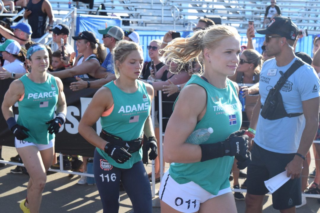 Annie Thorisdottir enters the field on the first day of the CrossFit Games.