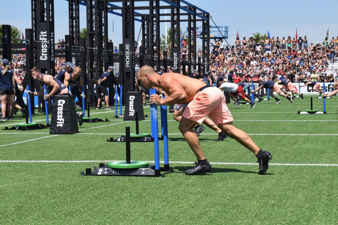 Cole Sager completes the Sprint Bicouplet event at the 2019 CrossFit Games