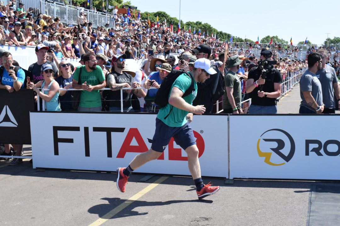 Patrick Vellner completes the Ruck Run event at the 2019 CrossFit Games