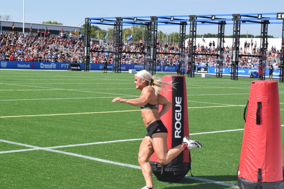 Sara Sigmundsdottir competes in the Sprint event at the 2019 CrossFit Games.