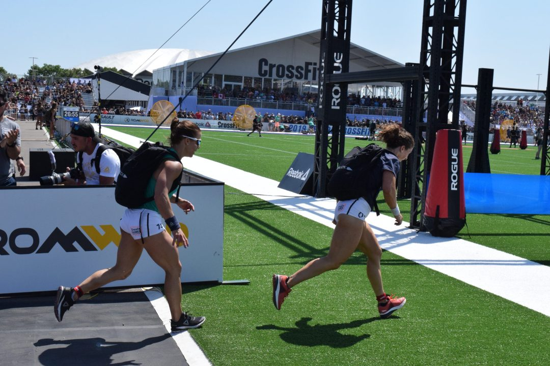 Kristin Holte of Norway completes the Ruck Run event at the 2019 CrossFit Games.