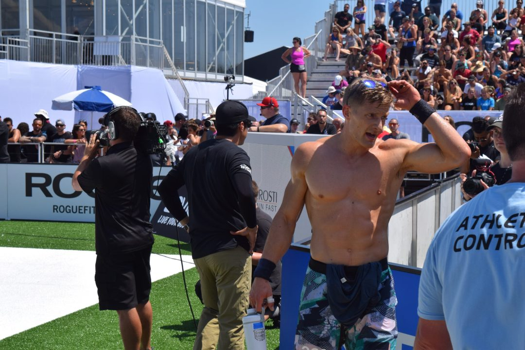 Brent Fikowski walks off the floor after an event at the 2019 CrossFit Games