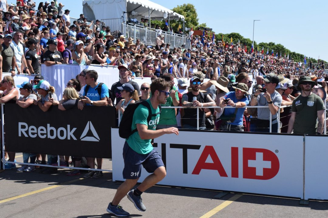 Connor Duddy completes the Ruck Run event at the 2019 CrossFit Games.