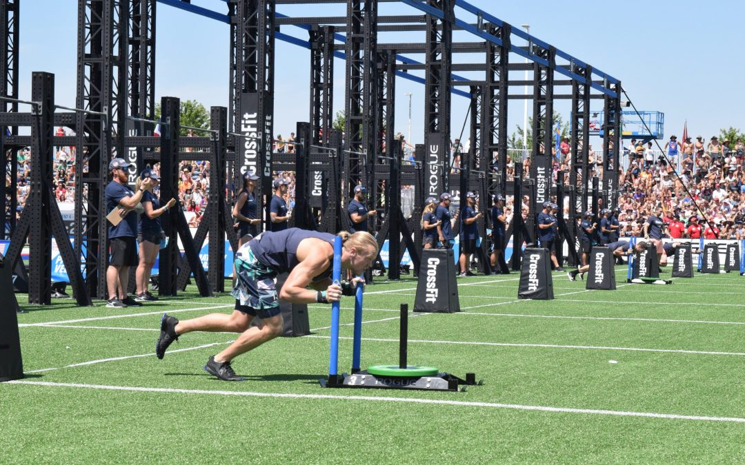 Joshua Wichtrup of Germany completes the Sprint Bicouplet event at the 2019 CrossFit Games