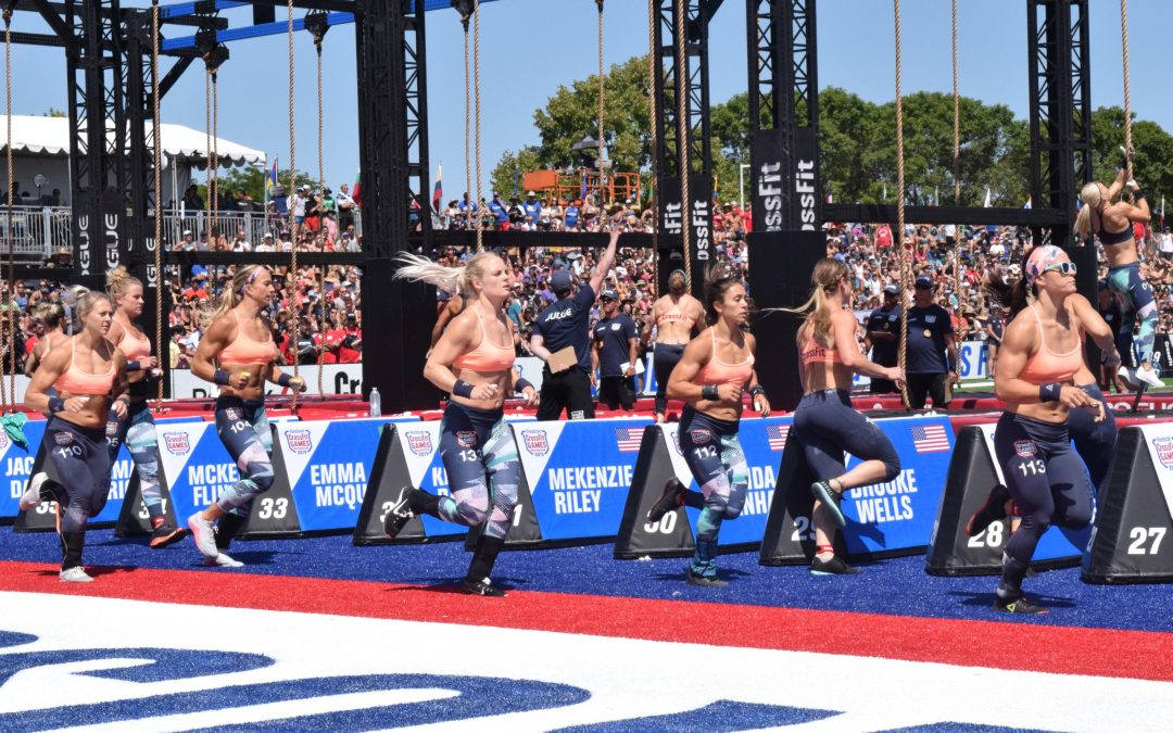 Athletes complete a lap at the 2019 CrossFit Games in Madison, Wisconsin.