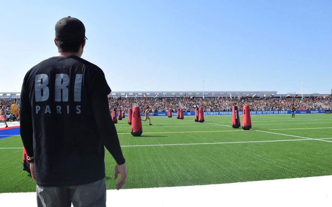 Dave Castro observes the Sprint event at the 2019 CrossFit Games