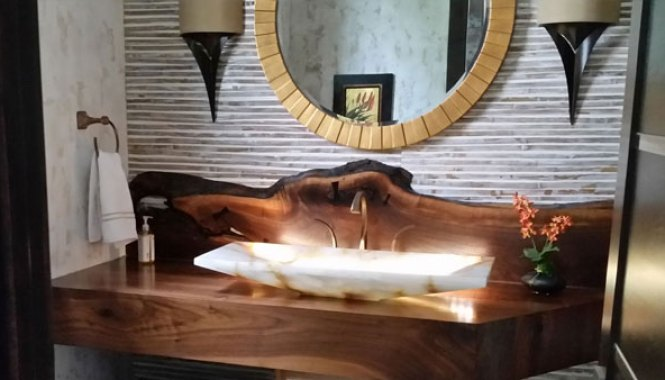 Walnut Vanity with live edge backsplash handcrafted by Brian Benham