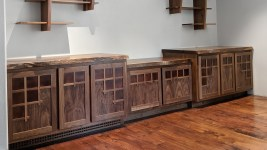 Built in cabinets with copper doors