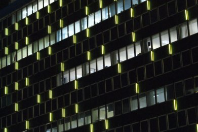 Close up of the facade luminaires.