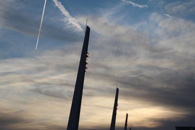 Columns just after sunset.