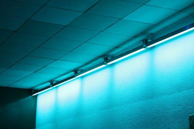 Wall washing in blue light.